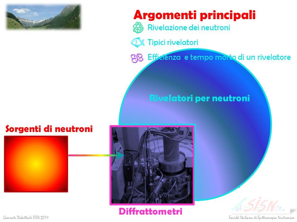 Argomenti principali Diffrattometri Rivelatori per neutroni Rivelazione dei neutroni Tipici rivelatori Efficienza e tempo morto di un rivelatore Sorge