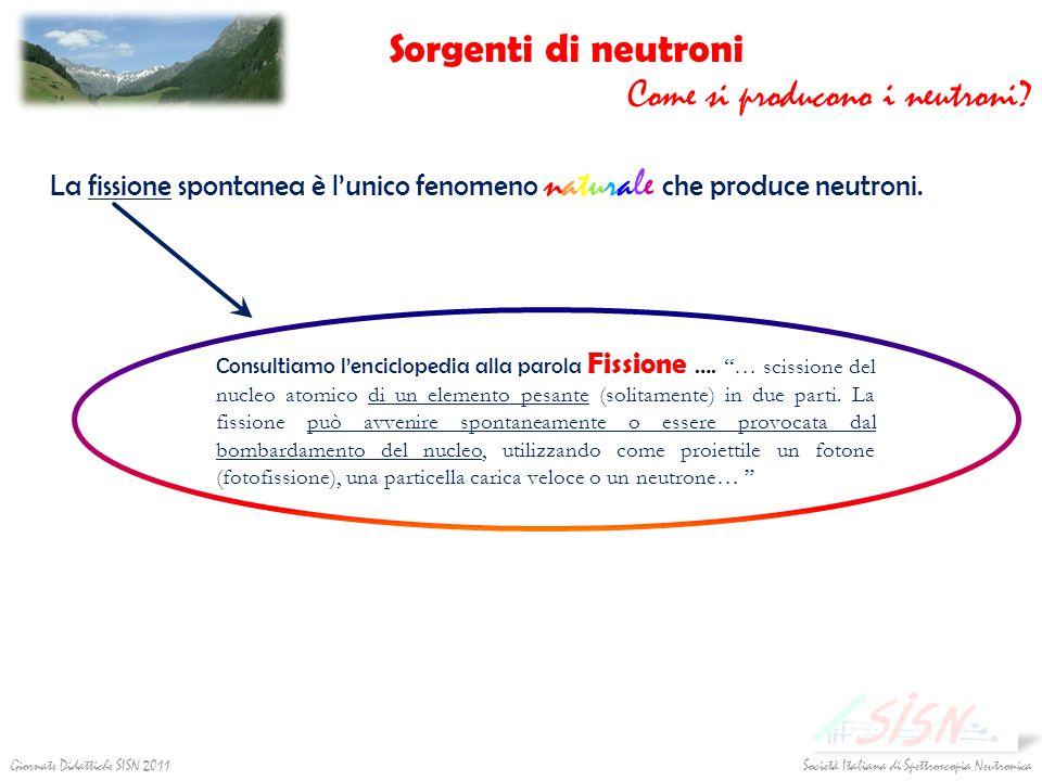 Società Italiana di Spettroscopia NeutronicaGiornate Didattiche SISN 2011 Consultiamo lenciclopedia alla parola Fissione …. … scissione del nucleo ato