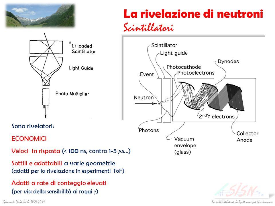 La rivelazione di neutroni Scintillatori Sono rivelatori: ECONOMICI Veloci in risposta (< 100 ns, contro 1-5 s…) Sottili e adattabili a varie geometri