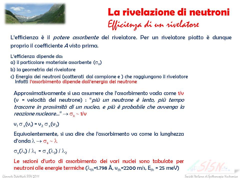 Società Italiana di Spettroscopia Neutronica Giornate Didattiche SISN 2011 La rivelazione di neutroni Efficienza di un rivelatore Lefficienza è il pot