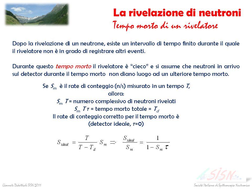 La rivelazione di neutroni Tempo morto di un rivelatore Società Italiana di Spettroscopia Neutronica Giornate Didattiche SISN 2011 Dopo la rivelazione