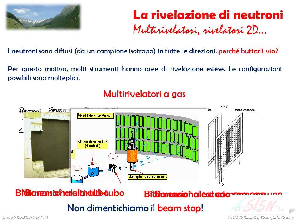 La rivelazione di neutroni Multirivelatori, rivelatori 2D… I neutroni sono diffusi (da un campione isotropo) in tutte le direzioni: perché buttarli vi