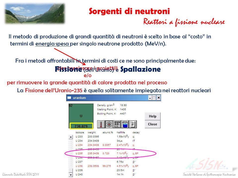 Società Italiana di Spettroscopia NeutronicaGiornate Didattiche SISN 2011 Sorgenti di neutroni Reattori a fissione nucleare per accelerare i proiettil