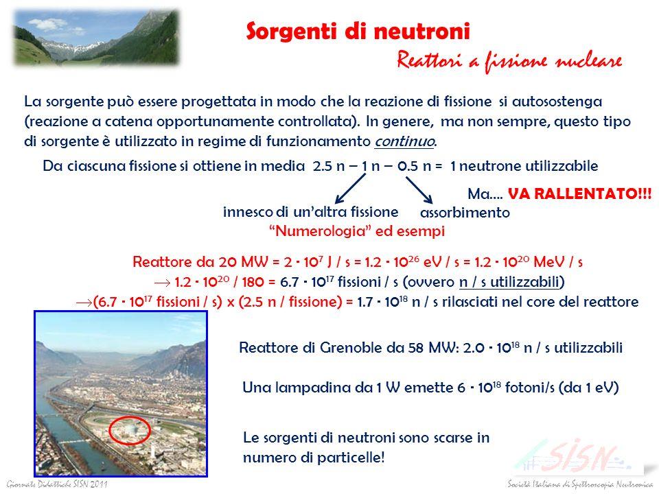Società Italiana di Spettroscopia Neutronica Giornate Didattiche SISN 2011 Sorgenti di neutroni Reattori a fissione nucleare La sorgente può essere pr
