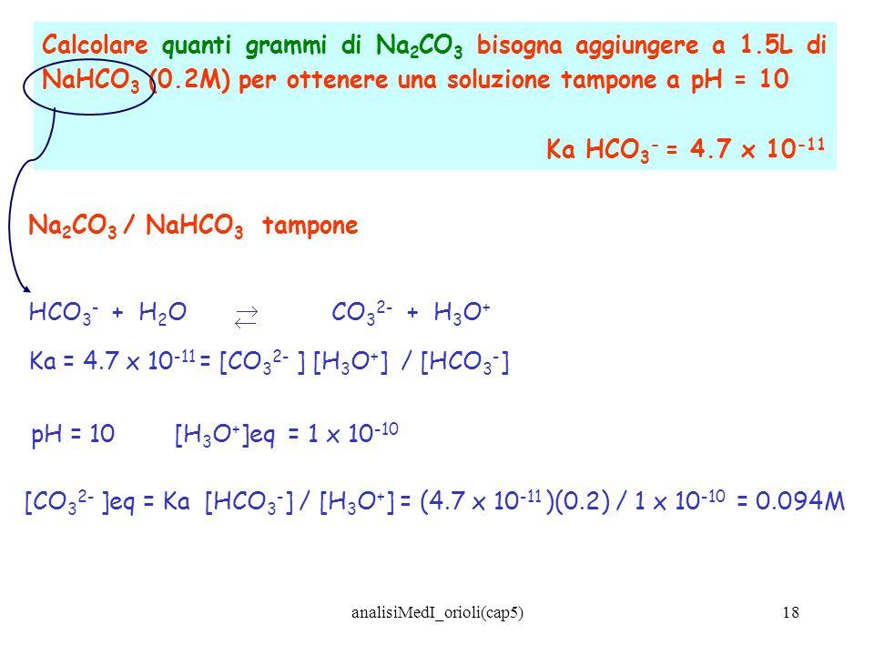 analisiMedI_orioli(cap5)18 Calcolare quanti grammi di Na 2 CO 3 bisogna aggiungere a 1.5L di NaHCO 3 (0.2M) per ottenere una soluzione tampone a pH =