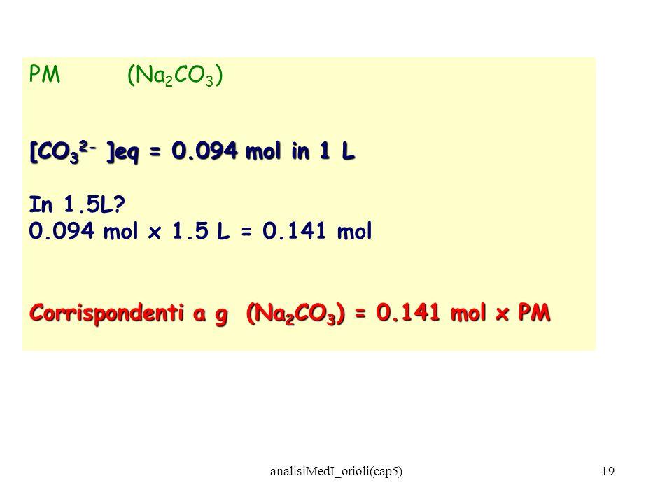 analisiMedI_orioli(cap5)19 PM (Na 2 CO 3 ) [CO 3 2- ]eq = 0.094 mol in 1 L In 1.5L? 0.094 mol x 1.5 L = 0.141 mol Corrispondenti a g (Na 2 CO 3 ) = 0.