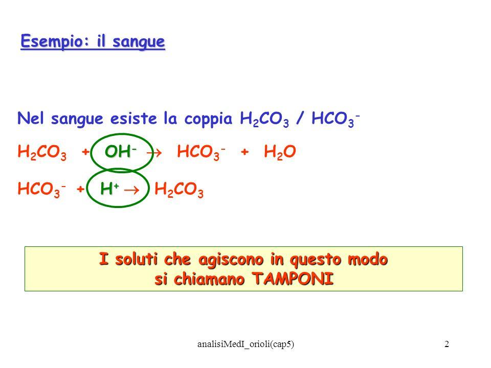 analisiMedI_orioli(cap5)2 Esempio: il sangue Nel sangue esiste la coppia H 2 CO 3 / HCO 3 - OH - H 2 CO 3 + OH - HCO 3 - + H 2 O H + HCO 3 - + H + H 2