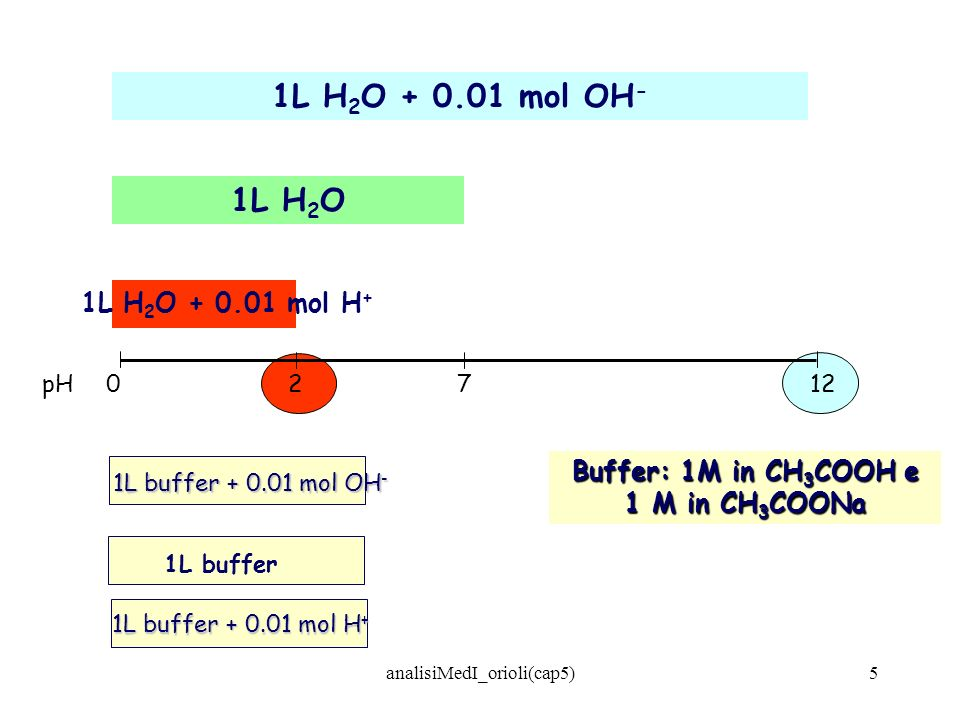 analisiMedI_orioli(cap5)5 1L H 2 O + 0.01 mol OH - 1L H 2 O pH02712 1L H 2 O + 0.01 mol H + 1L buffer + 0.01 mol OH - 1L buffer Buffer: 1M in CH 3 COO