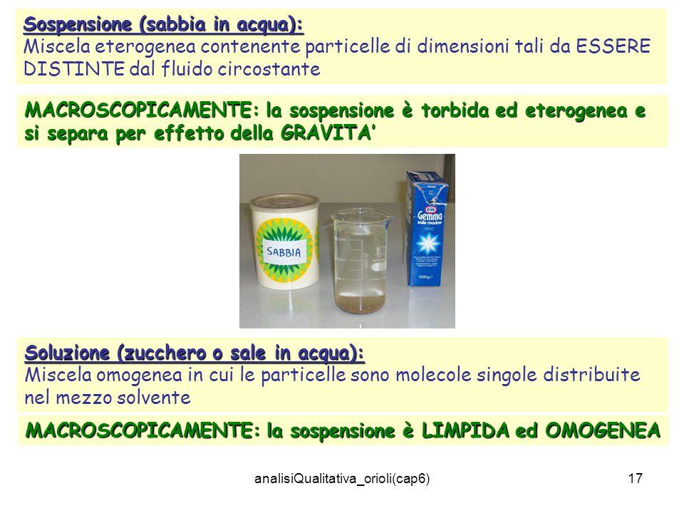 analisiQualitativa_orioli(cap6)17 Sospensione (sabbia in acqua): Miscela eterogenea contenente particelle di dimensioni tali da ESSERE DISTINTE dal fl
