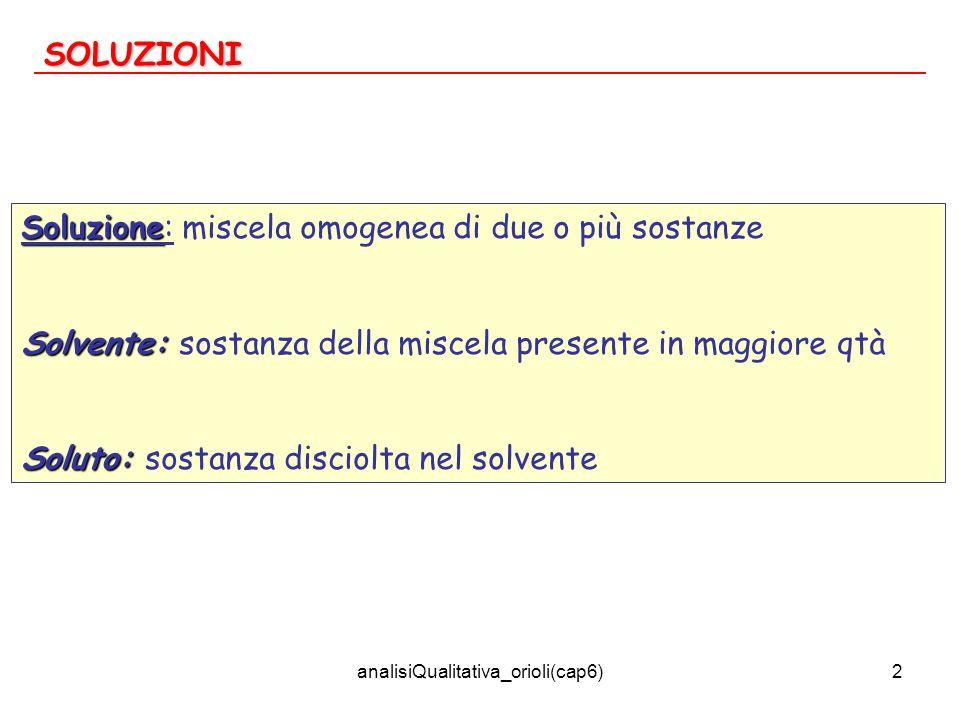 analisiQualitativa_orioli(cap6)2 SOLUZIONI Soluzione Soluzione: miscela omogenea di due o più sostanze Solvente: Solvente: sostanza della miscela pres