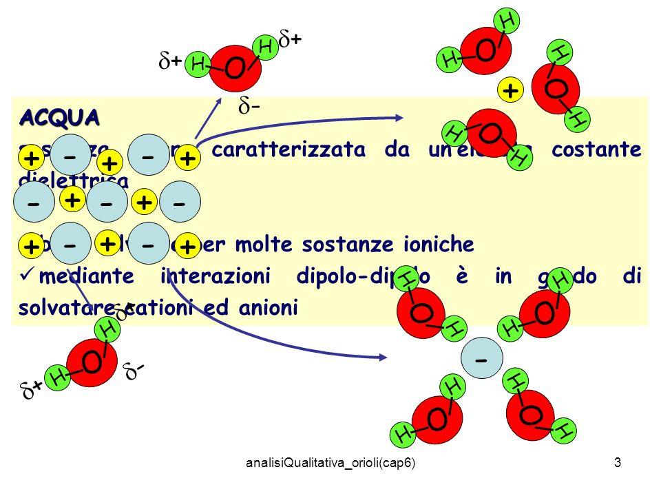 analisiQualitativa_orioli(cap6)3 ACQUA sostanza polare caratterizzata da unelevata costante dielettrica buon solvente per molte sostanze ioniche media