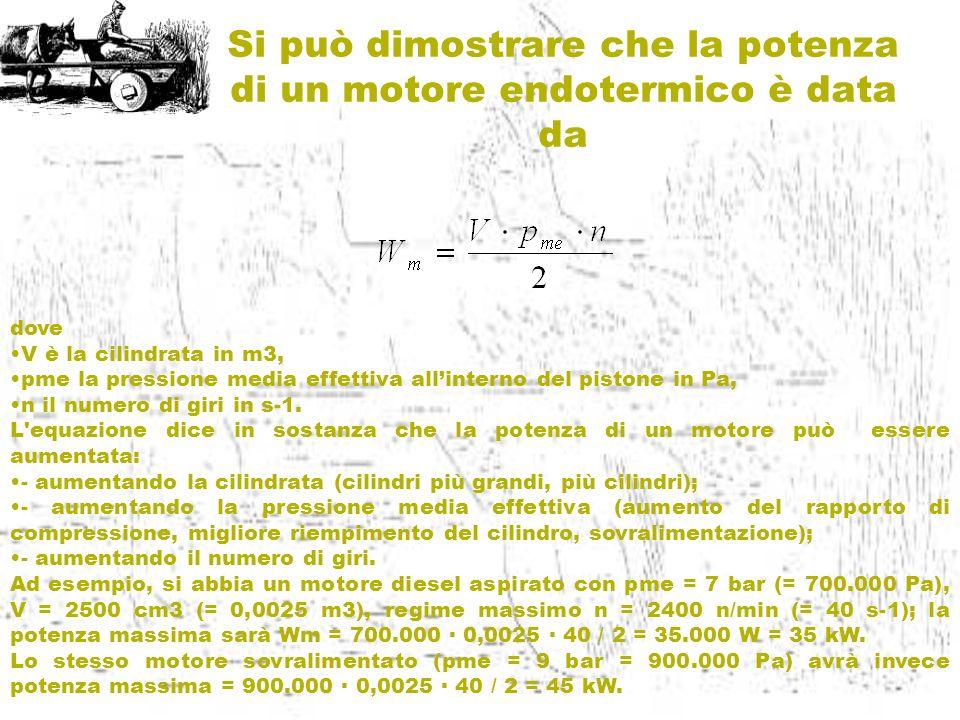 dove V è la cilindrata in m3, pme la pressione media effettiva allinterno del pistone in Pa, n il numero di giri in s-1. L'equazione dice in sostanza