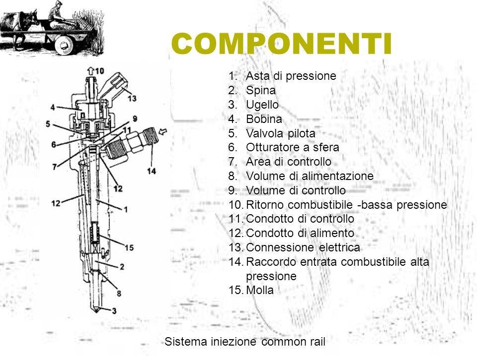 COMPONENTI Sistema iniezione common rail 1.Asta di pressione 2.Spina 3.Ugello 4.Bobina 5.Valvola pilota 6.Otturatore a sfera 7.Area di controllo 8.Vol