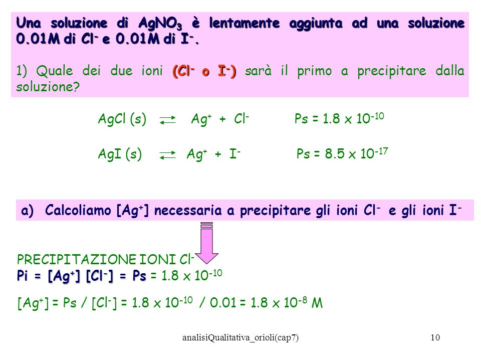 analisiQualitativa_orioli(cap7)10 Una soluzione di AgNO 3 è lentamente aggiunta ad una soluzione 0.01M di Cl - e 0.01M di I -. (Cl - o I - ) 1) Quale