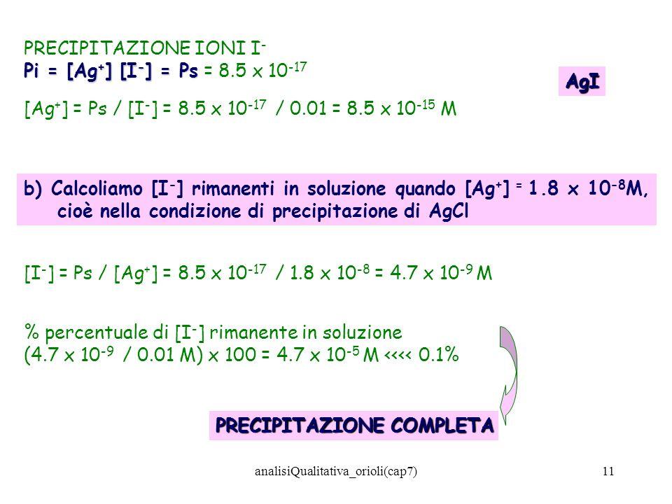 analisiQualitativa_orioli(cap7)11 PRECIPITAZIONE IONI I - Pi = [Ag + ] [I - ] = Ps Pi = [Ag + ] [I - ] = Ps = 8.5 x 10 -17 [Ag + ] = Ps / [I - ] = 8.5