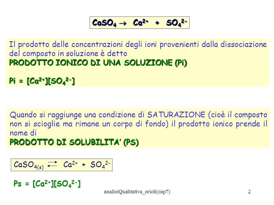 analisiQualitativa_orioli(cap7)2 CaSO 4 Ca 2+ + SO 4 2- Il prodotto delle concentrazioni degli ioni provenienti dalla dissociazione del composto in so