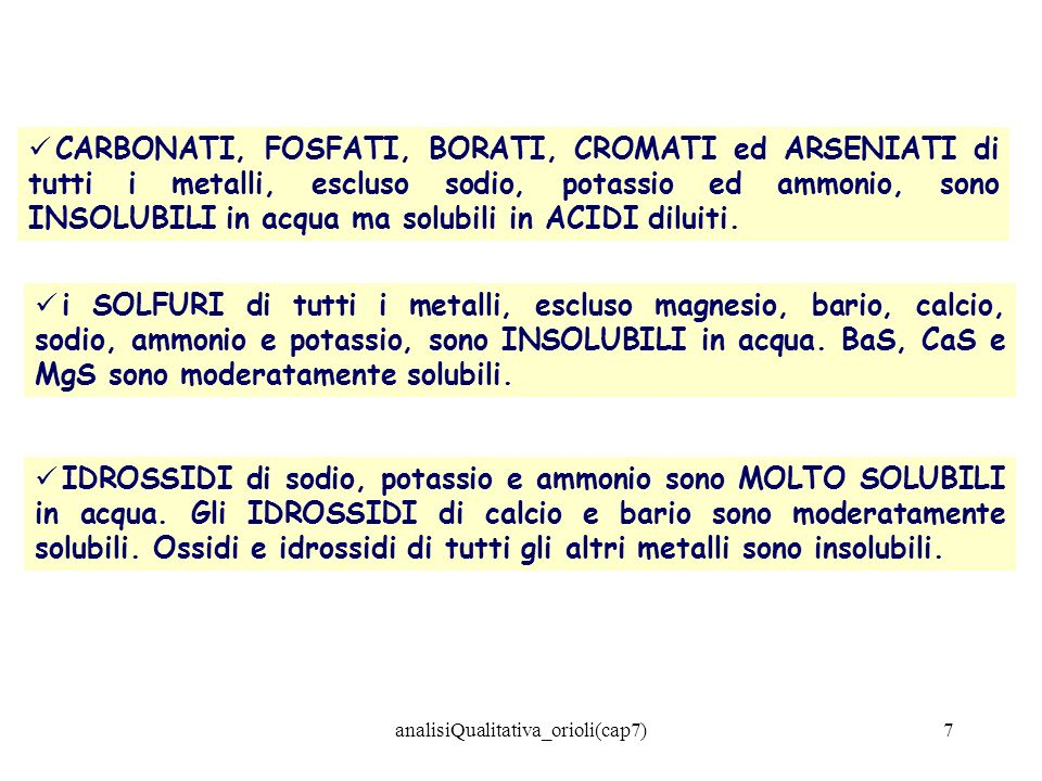 analisiQualitativa_orioli(cap7)7 CARBONATI, FOSFATI, BORATI, CROMATI ed ARSENIATI di tutti i metalli, escluso sodio, potassio ed ammonio, sono INSOLUB