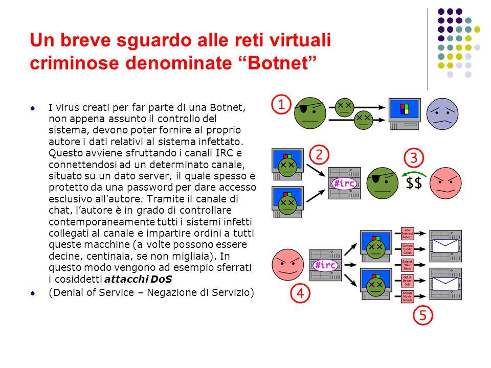 Un breve sguardo alle reti virtuali criminose denominate Botnet I virus creati per far parte di una Botnet, non appena assunto il controllo del sistem