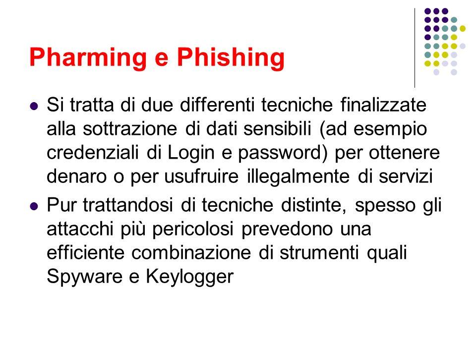 Pharming e Phishing Si tratta di due differenti tecniche finalizzate alla sottrazione di dati sensibili (ad esempio credenziali di Login e password) p