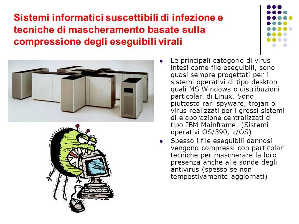 Sistemi informatici suscettibili di infezione e tecniche di mascheramento basate sulla compressione degli eseguibili virali Le principali categorie di
