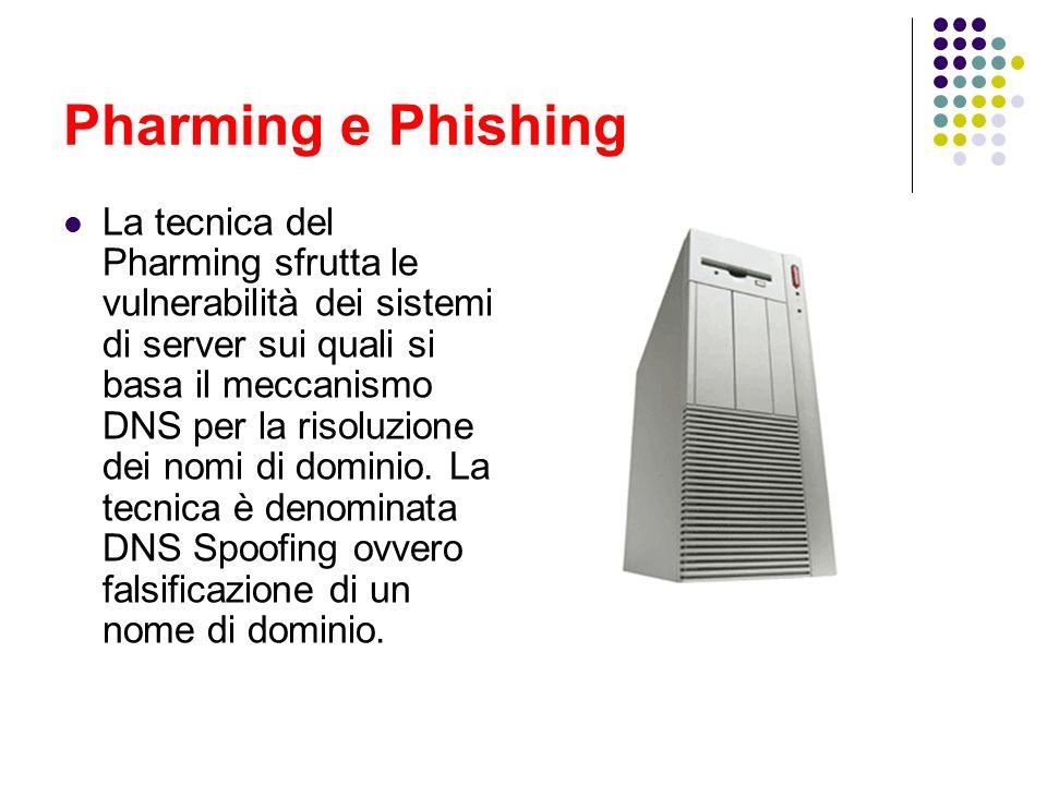 Pharming e Phishing La tecnica del Pharming sfrutta le vulnerabilità dei sistemi di server sui quali si basa il meccanismo DNS per la risoluzione dei