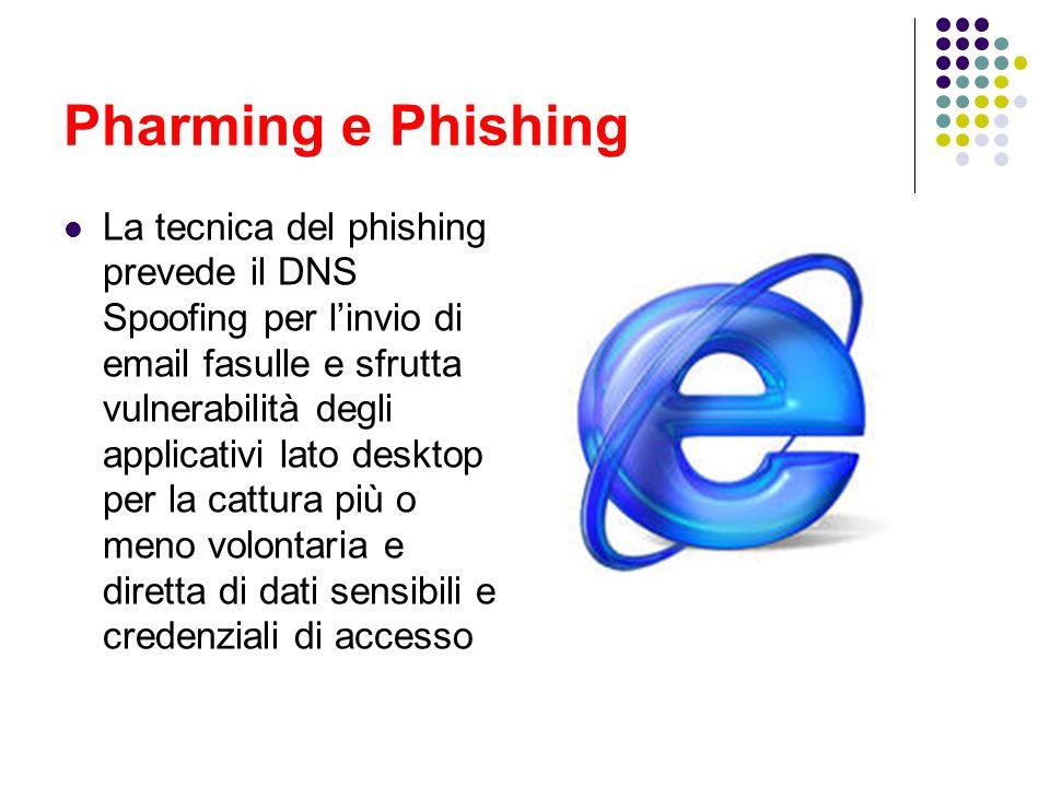 Pharming e Phishing La tecnica del phishing prevede il DNS Spoofing per linvio di email fasulle e sfrutta vulnerabilità degli applicativi lato desktop