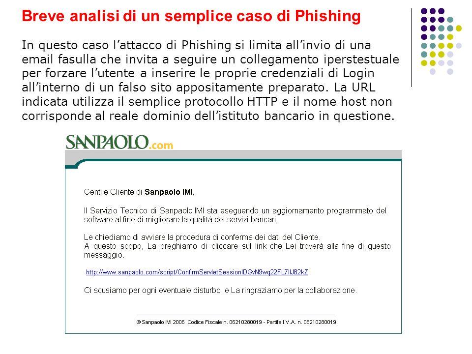 Breve analisi di un semplice caso di Phishing In questo caso lattacco di Phishing si limita allinvio di una email fasulla che invita a seguire un coll