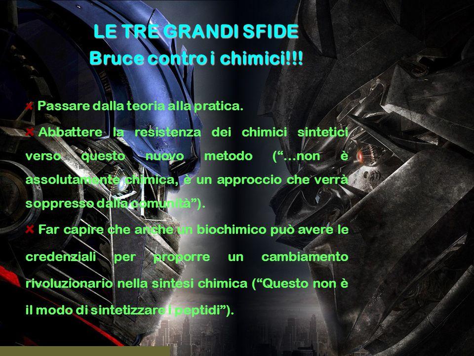 LE TRE GRANDI SFIDE Bruce contro i chimici!!! Passare dalla teoria alla pratica. Abbattere la resistenza dei chimici sintetici verso questo nuovo meto