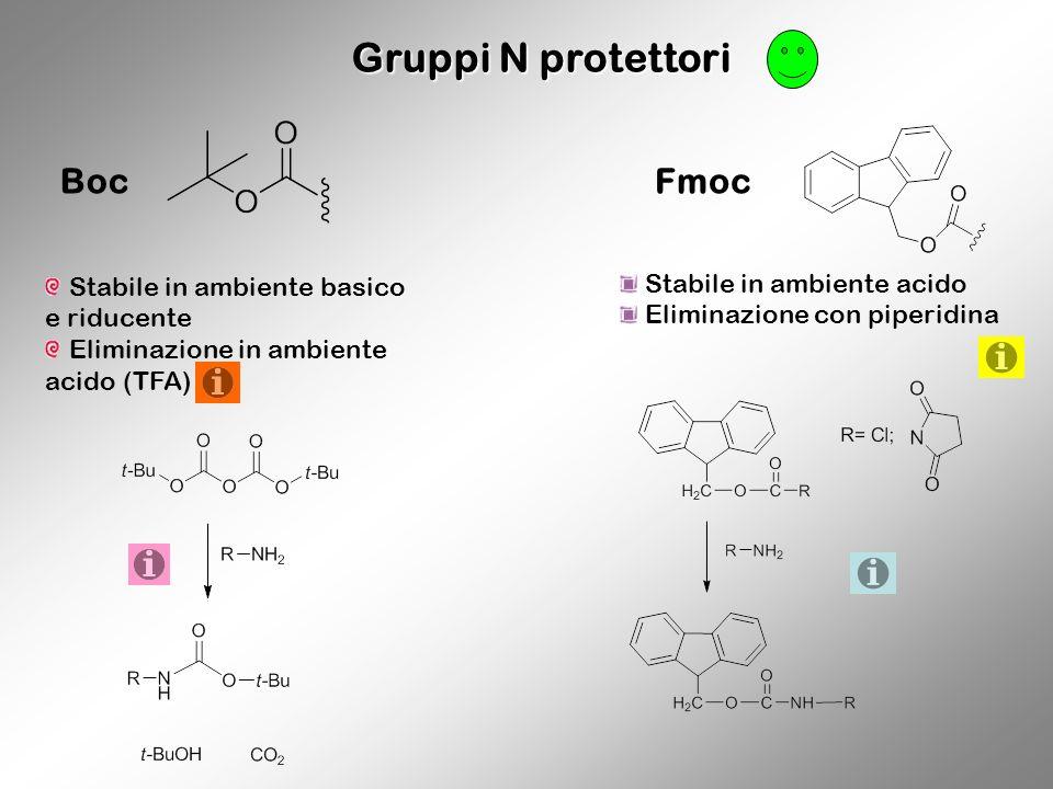 Gruppi N protettori Boc Stabile in ambiente basico e riducente Eliminazione in ambiente acido (TFA) Fmoc Stabile in ambiente acido Eliminazione con pi