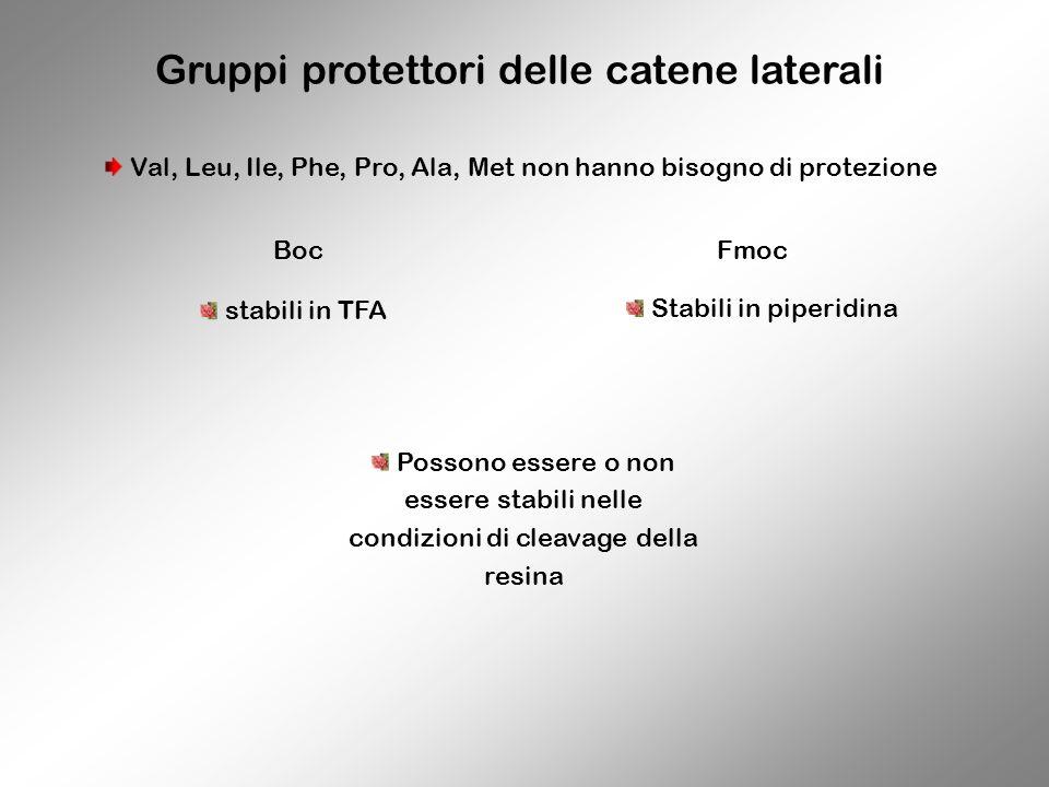 Gruppi protettori delle catene laterali BocFmoc Val, Leu, Ile, Phe, Pro, Ala, Met non hanno bisogno di protezione stabili in TFA Stabili in piperidina