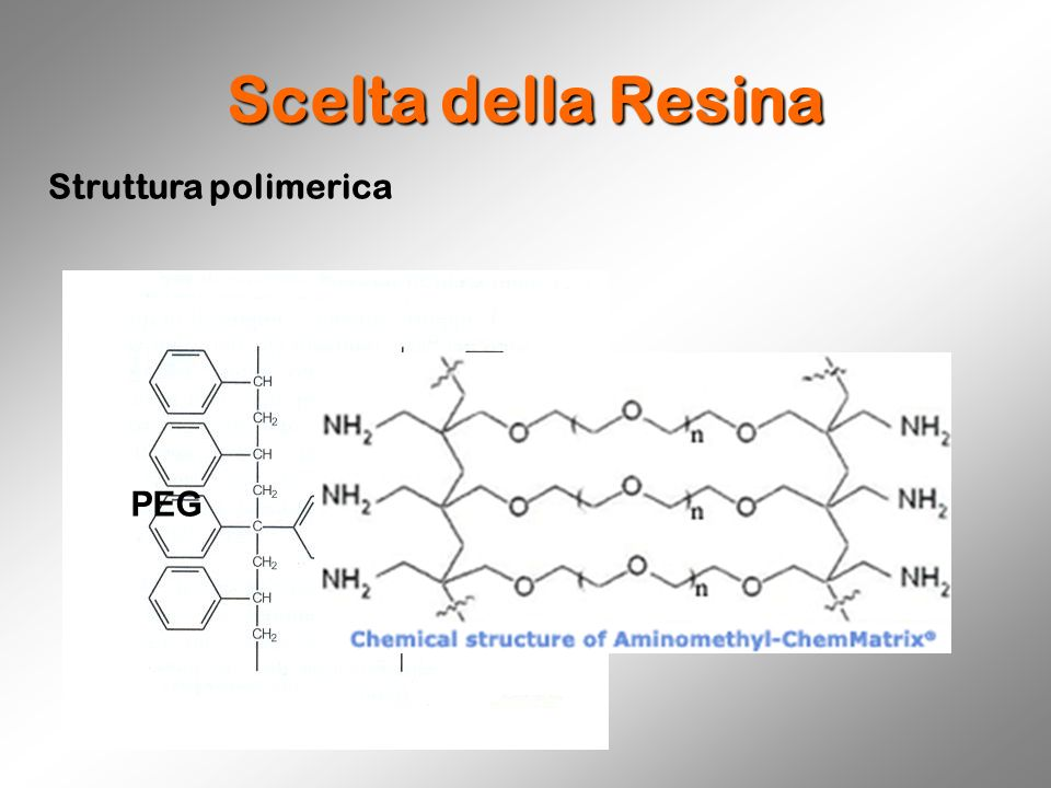 Scelta della Resina Struttura polimerica Polistirene PEG