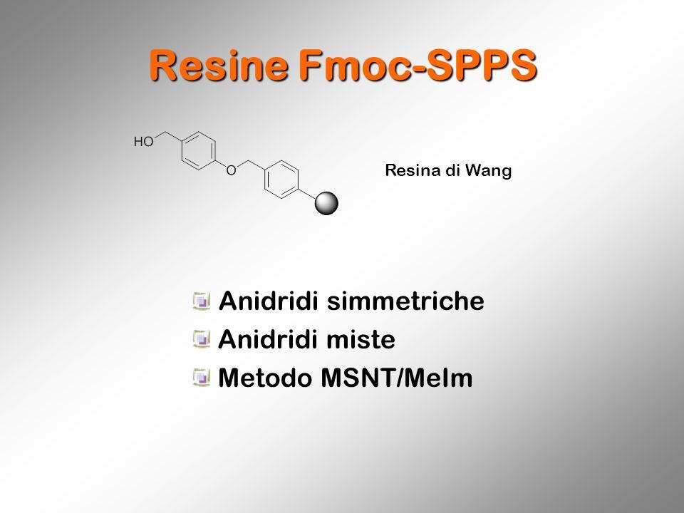 Resine Fmoc-SPPS Resina di Wang Anidridi simmetriche Anidridi miste Metodo MSNT/MeIm