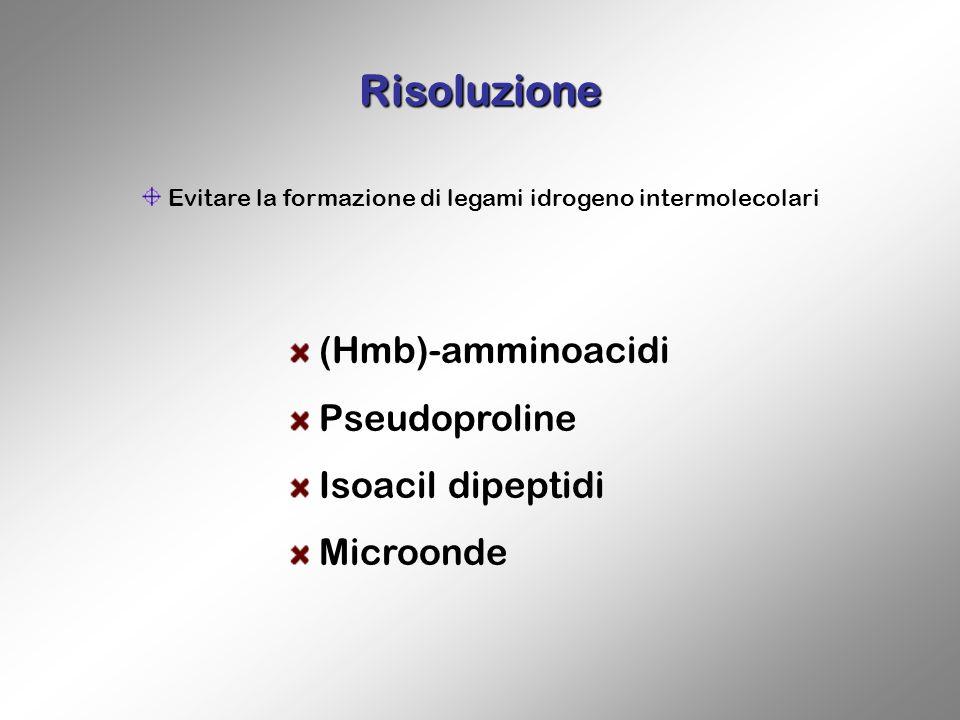 Risoluzione Evitare la formazione di legami idrogeno intermolecolari (Hmb)-amminoacidi Pseudoproline Isoacil dipeptidi Microonde