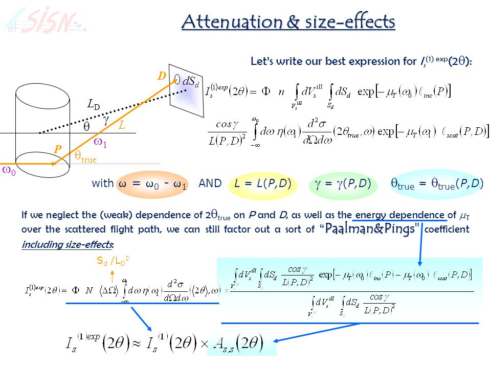 Attenuation & size-effects Lets write our best expression for I s (1) exp (2 ): with = 0 - 1 AND L = L(P,D) = (P,D) true = true (P,D) Paalman&Pings If we neglect the (weak) dependence of 2 true on P and D, as well as the energy dependence of T over the scattered flight path, we can still factor out a sort of Paalman&Pings coefficient including size-effects : S d /L D 2 θ true L D θ LDLD P dS d 0 1