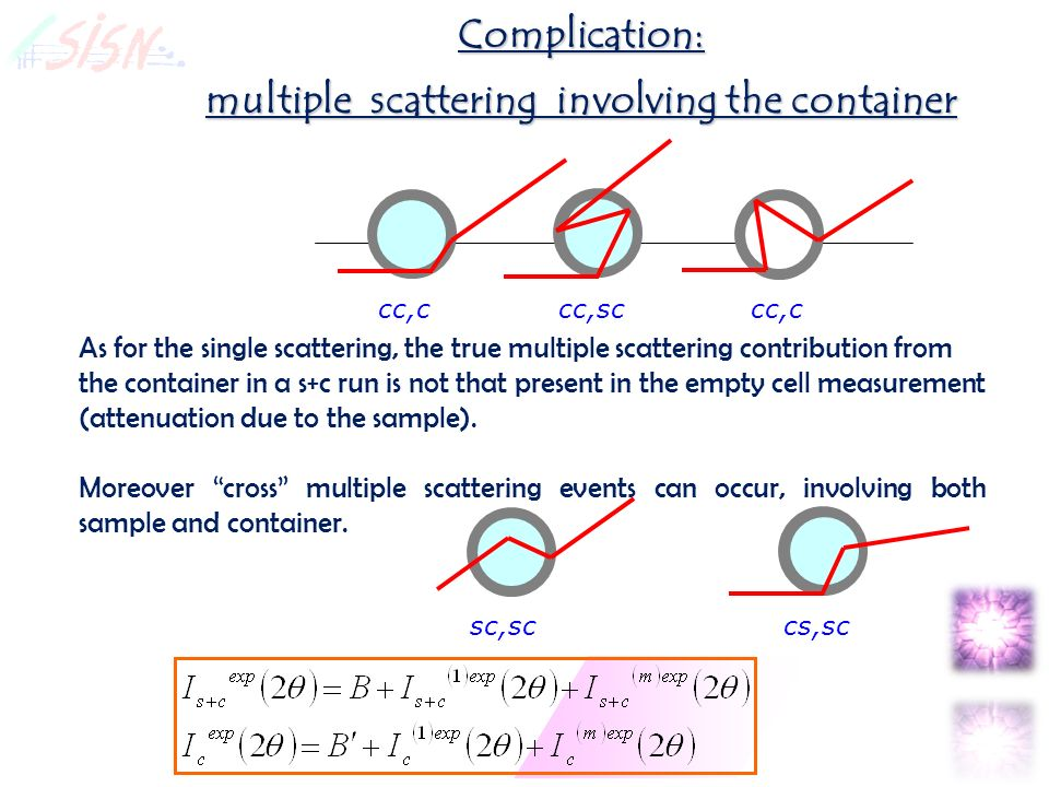 Complication: multiple scattering involving the container cc,ccc,sccc,c As for the single scattering, the true multiple scattering contribution from the container in a s+c run is not that present in the empty cell measurement (attenuation due to the sample).