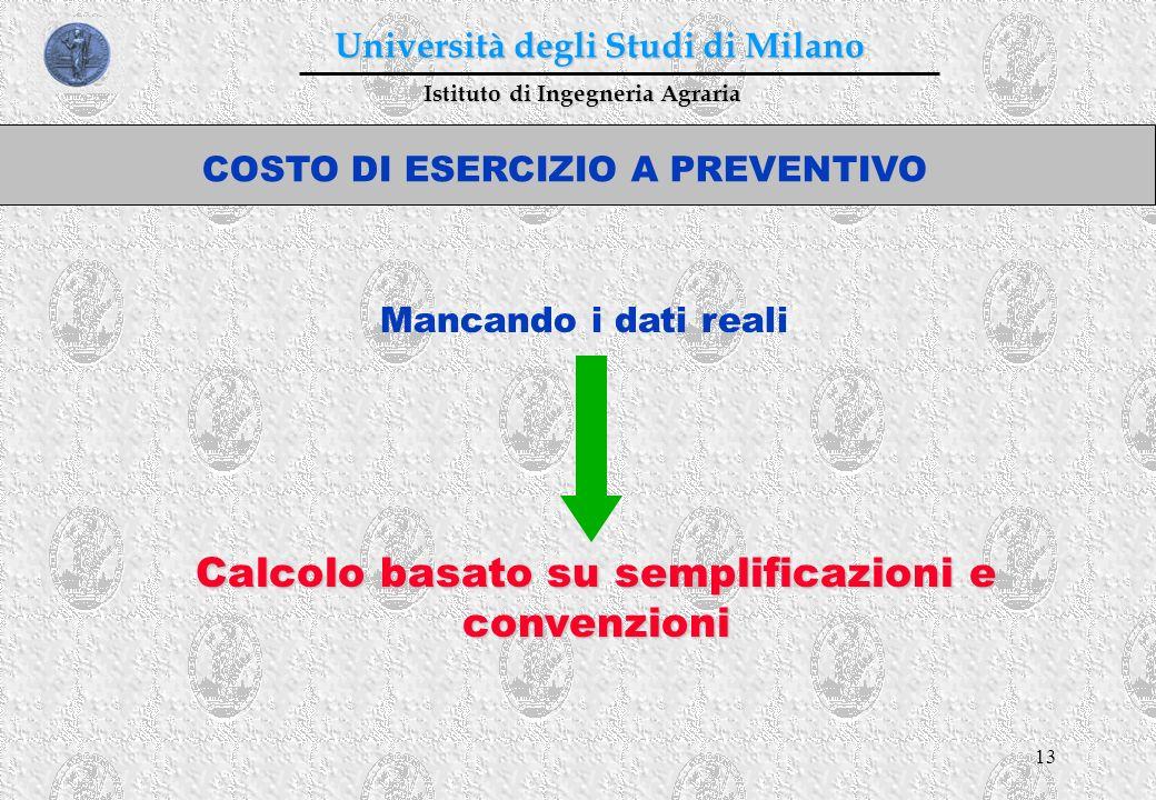 13 Istituto di Ingegneria Agraria Università degli Studi di Milano COSTO DI ESERCIZIO A PREVENTIVO Mancando i dati reali Calcolo basato su semplificaz