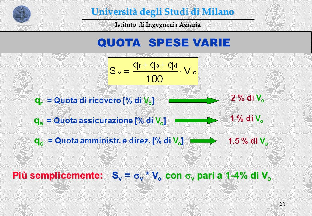 28 Istituto di Ingegneria Agraria Università degli Studi di Milano QUOTA SPESE VARIE q r = Quota di ricovero [% di V o ] q a = Quota assicurazione [%