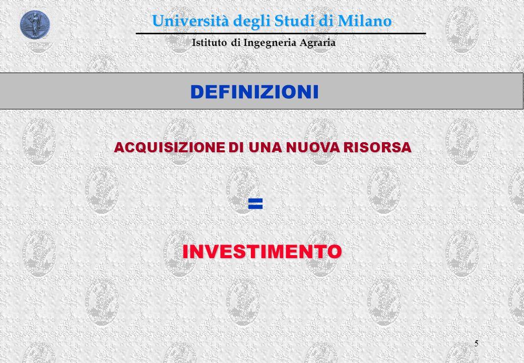 5 Istituto di Ingegneria Agraria Università degli Studi di Milano DEFINIZIONI ACQUISIZIONE DI UNA NUOVA RISORSA = INVESTIMENTO
