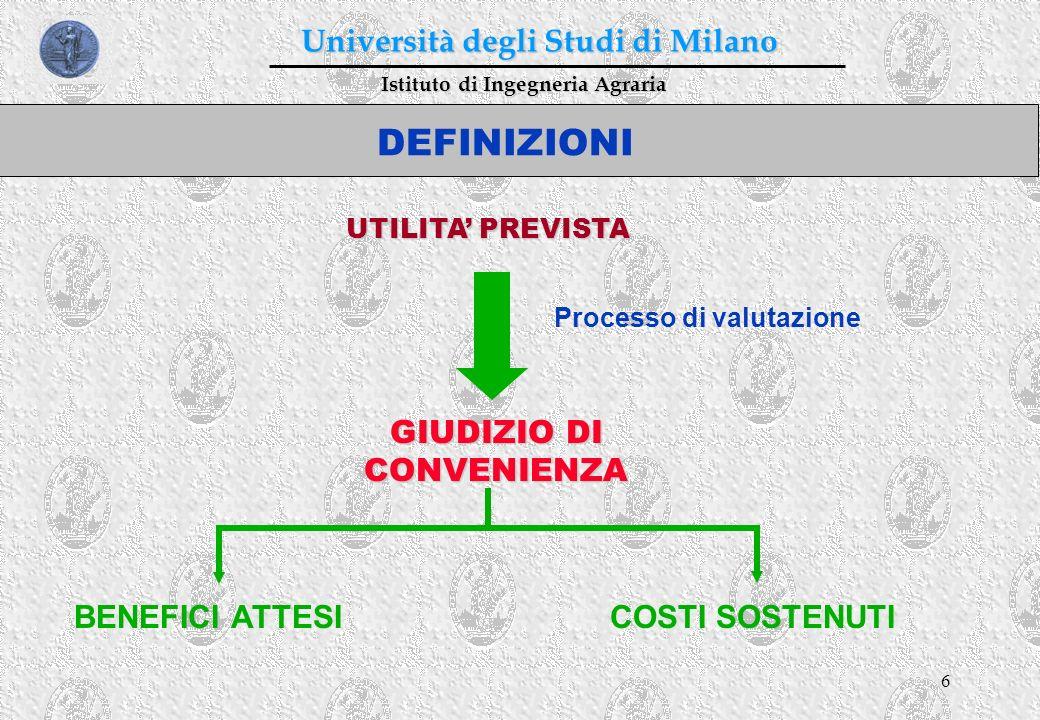 6 Istituto di Ingegneria Agraria Università degli Studi di Milano DEFINIZIONI UTILITA PREVISTA GIUDIZIO DI CONVENIENZA Processo di valutazione BENEFIC