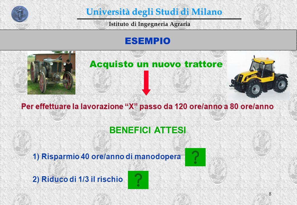 8 Istituto di Ingegneria Agraria Università degli Studi di Milano ESEMPIO BENEFICI ATTESI Acquisto un nuovo trattore Per effettuare la lavorazione X p