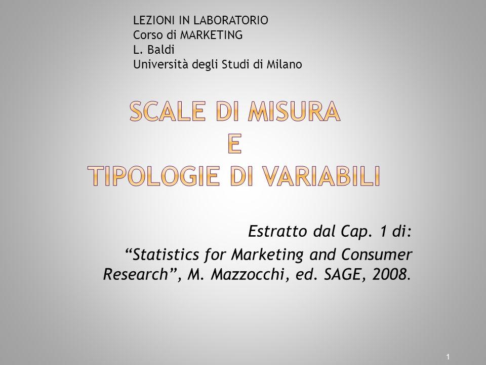 Estratto dal Cap. 1 di: Statistics for Marketing and Consumer Research, M. Mazzocchi, ed. SAGE, 2008. 1 LEZIONI IN LABORATORIO Corso di MARKETING L. B