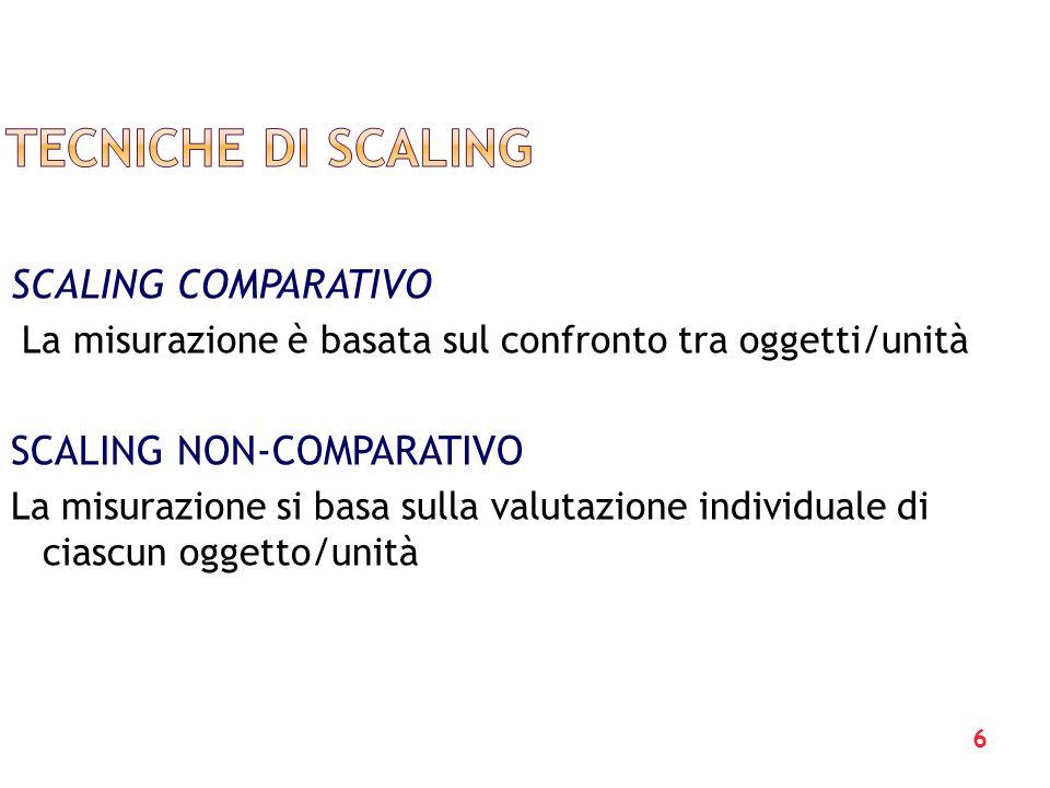 7 scaling a coppie: si confrontano due oggetti Guttman scaling: Si misura una situazione attraverso lessere daccordo o meno, seguendo un insieme ordinato di possibilità, da un massimo a un minimo.