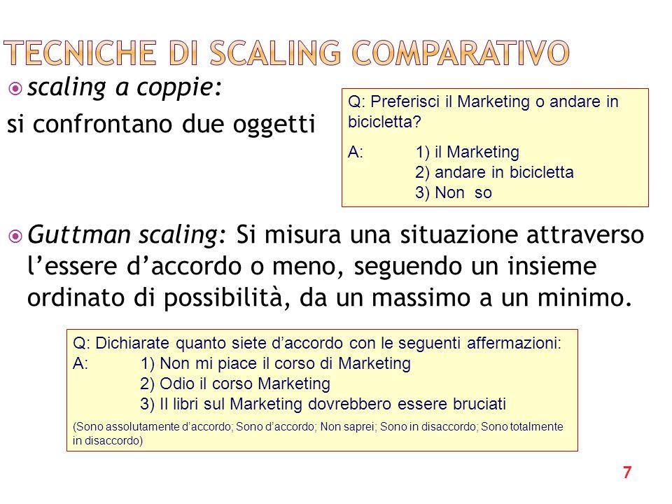7 scaling a coppie: si confrontano due oggetti Guttman scaling: Si misura una situazione attraverso lessere daccordo o meno, seguendo un insieme ordin