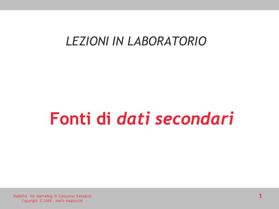 Statistics for Marketing & Consumer Research Copyright © 2008 - Mario Mazzocchi 2 Dati Primari vs.