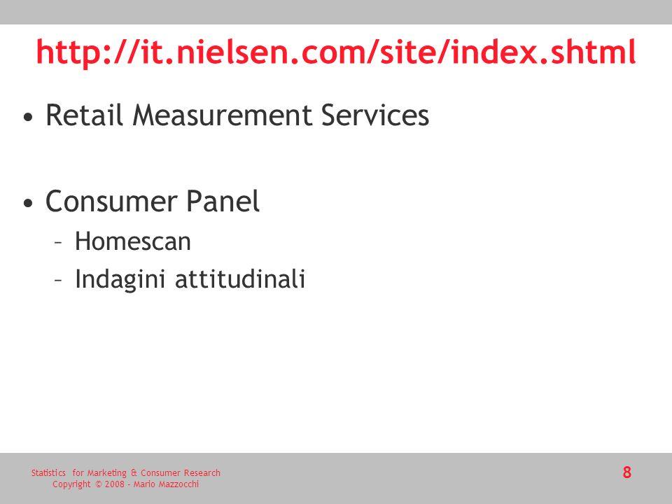 Statistics for Marketing & Consumer Research Copyright © 2008 - Mario Mazzocchi 9 http://www.databank.it/ COMPETITORS (e COMPETITORS PLUS) -Alimentari *aceto *alimenti dietetici *alimenti surgelati *biscotteria *......