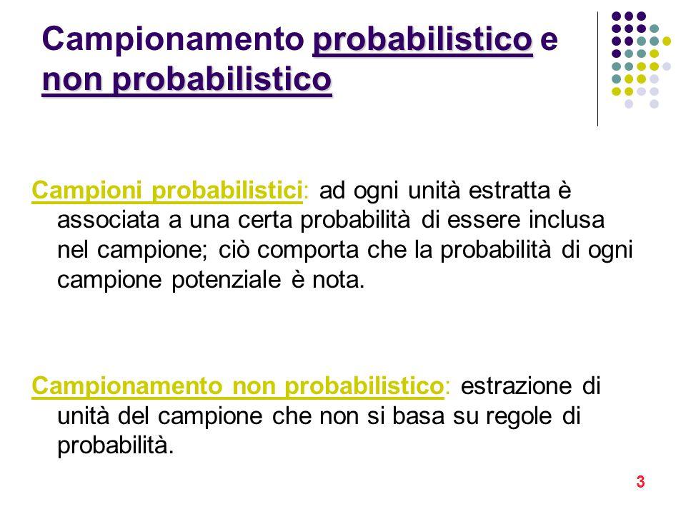 3 probabilistico non probabilistico Campionamento probabilistico e non probabilistico Campioni probabilistici: ad ogni unità estratta è associata a un
