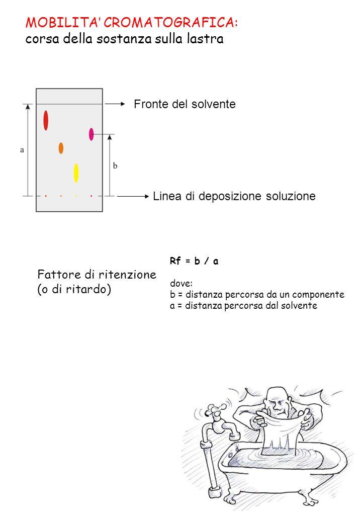 MOBILITA CROMATOGRAFICA: corsa della sostanza sulla lastra Fattore di ritenzione (o di ritardo) Linea di deposizione soluzione Fronte del solvente Rf