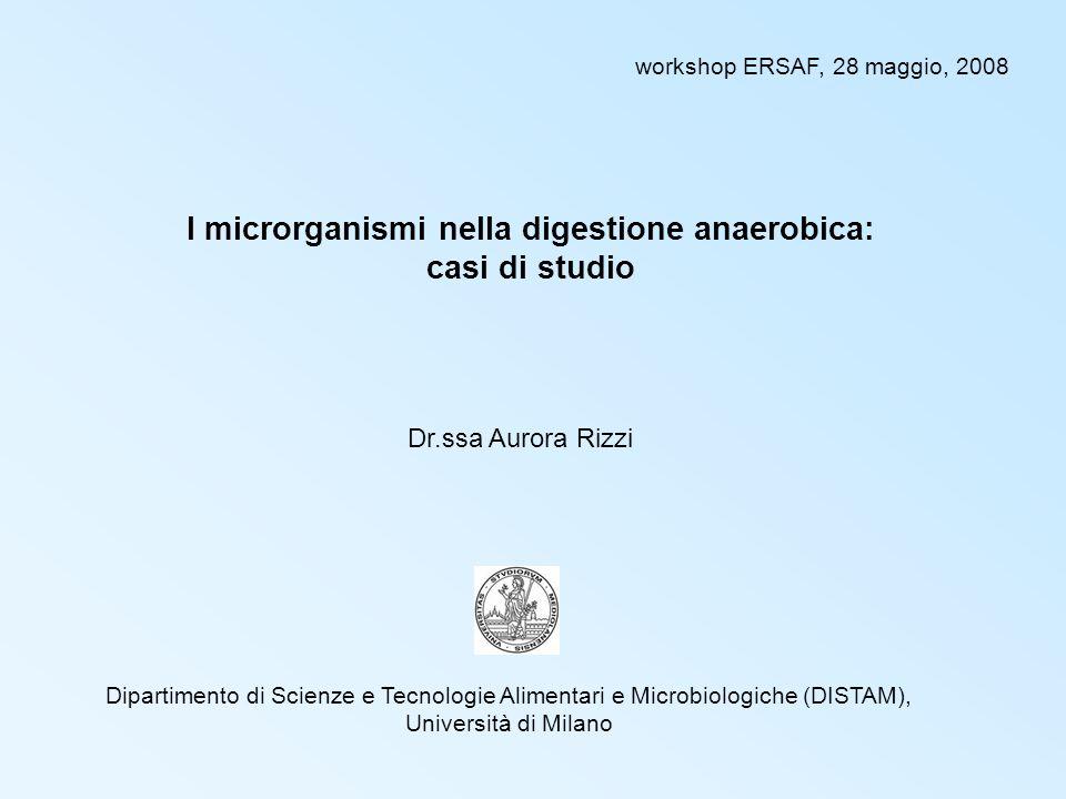 I microrganismi nella digestione anaerobica: casi di studio Dr.ssa Aurora Rizzi Dipartimento di Scienze e Tecnologie Alimentari e Microbiologiche (DISTAM), Università di Milano workshop ERSAF, 28 maggio, 2008