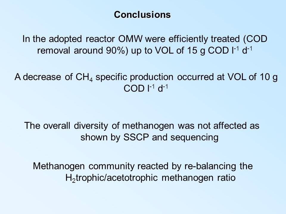 Conclusions In the adopted reactor OMW were efficiently treated (COD removal around 90%) up to VOL of 15 g COD l -1 d -1 A decrease of CH 4 specific p