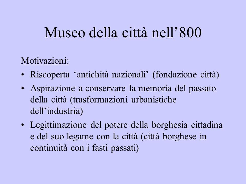 Museo della città nell800 Motivazioni: Riscoperta antichità nazionali (fondazione città) Aspirazione a conservare la memoria del passato della città (